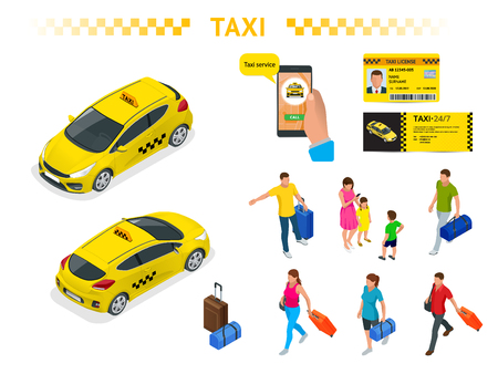 A large set of isomeric images of a taxi car, traveling people with baggage, a mobile taxi call application, a taxi license and a flyer. Character set. Active recreation and travel