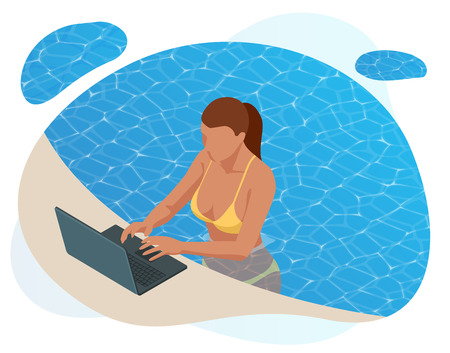 Isometric young woman working on the beach with a laptop on a sunny day, feeling of relaxing.