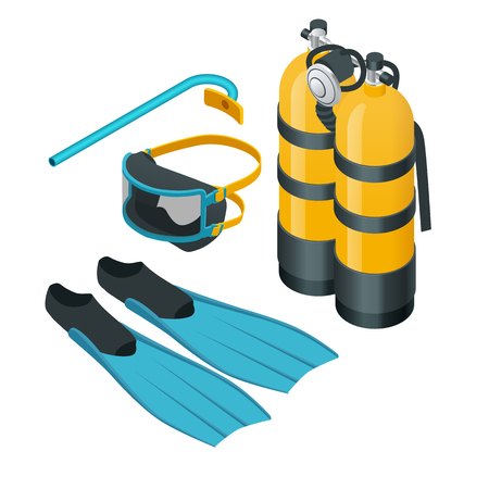 Isometric Diving equipment. Aqualung mask tube and flippers for diving vector illustration isolated on white background. A set of Scuba gear set up