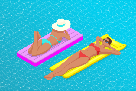 Inflatable ring and mattress. Young women on air mattress in the big swimming pool. Summer holiday idyllic. Enjoying suntan. Vacation concept. High view from above. 向量圖像