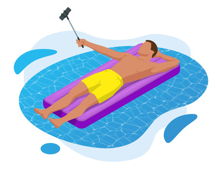 Inflatable ring and mattress. Young man on air mattress in the big swimming pool. Summer holiday idyllic. Enjoying suntan. Vacation concept. High view from above