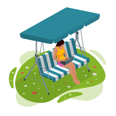 Isometric girl with a laptop sitting on the garden swing. Place for outdoor recreation isolated on white background