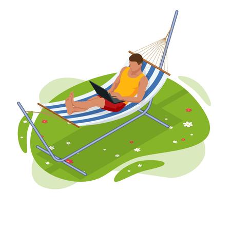 Isometrische Gartenhängematte. Entspannen in der Hängematte im Sommergarten. Vektorgrafik