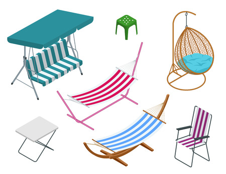Isometric garden swings isolated on white background. Place for outdoor recreation. Set of Garden swings.