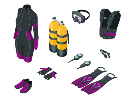 Isometric Scuba gear and accessories . Equipment for diving. IDiver wetsuit, scuba mask, snorkel, fins, regulator dive icons Underwater activity diving equipment and accessories Underwater sport