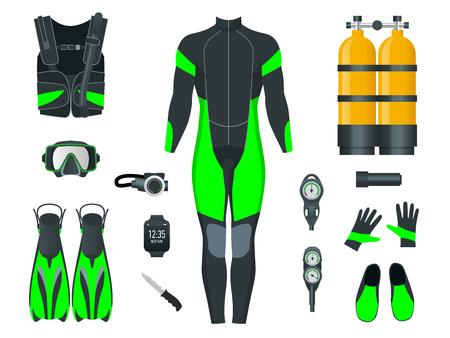 Tauchausrüstung und Zubehör für Herren. Ausrüstung zum Tauchen. IDiver Neoprenanzug, Tauchmaske, Schnorchel, Flossen, Atemregler-Tauchsymbole. Tauchausrüstung und Zubehör für Unterwasseraktivitäten. Unterwassersport