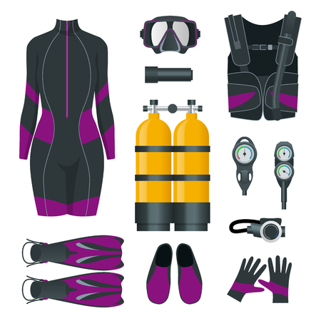 Womans Scuba gear and accessories. Equipment for diving. IDiver wetsuit, scuba mask, snorkel, fins, regulator dive icons. Underwater activity diving equipment and accessories. Underwater sport