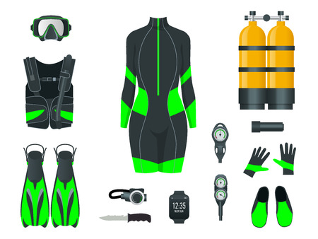 Woman s Scuba gear and accessories. Equipment for diving. IDiver wetsuit, scuba mask, snorkel, fins, regulator dive icons. Underwater activity diving equipment and accessories. Underwater sport.