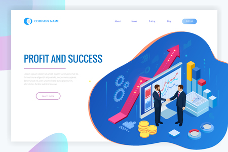 Isometric Successful business collaboration. Businessmen shaking hands. B2B. Data and key performance indicators for business intelligence analytics Illustration