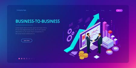 Colaboración empresarial exitosa isométrica. Hombres de negocios dándose la mano. B2B. Datos e indicadores clave de rendimiento para análisis de inteligencia empresarial