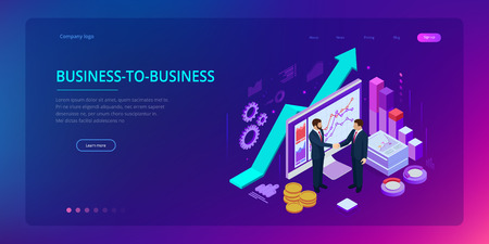 Isometric Successful business collaboration. Businessmen shaking hands. B2B. Data and key performance indicators for business intelligence analytics Vectores