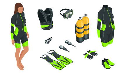Isometrische Tauchausrüstung und Zubehör. Ausrüstung zum Tauchen. IDiver Neoprenanzug, Tauchmaske, Schnorchel, Flossen, Atemregler Tauchsymbole Unterwasseraktivität Tauchausrüstung und Zubehör Unterwassersport
