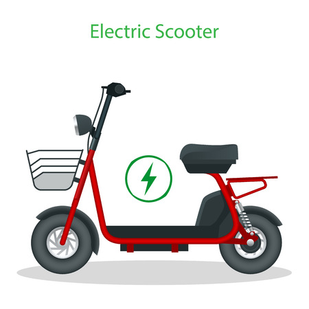 Electric Scooter with seat on the road. Ilustração