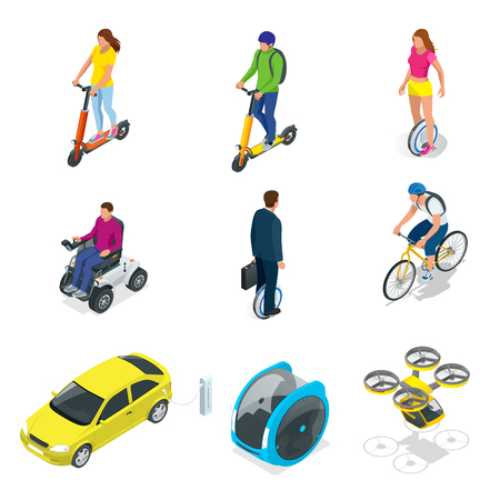 Isometric set of Alternative Eco Transport isolated Ilustração