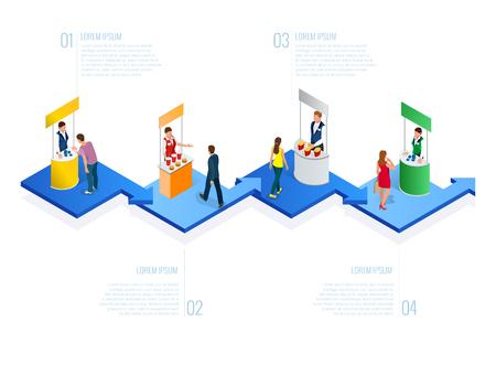 Isometric Expo Stands. Exhibition Demonstration Stand Concept. Ilustração