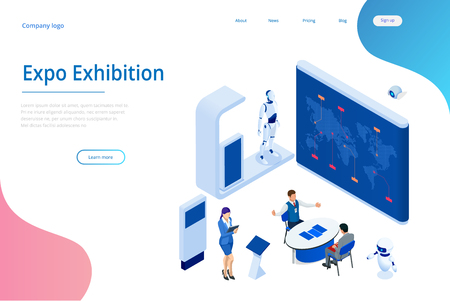 Isometric Expo Stands. Exhibition Demonstration Stand Concept. Exposition booth. Blank mockup