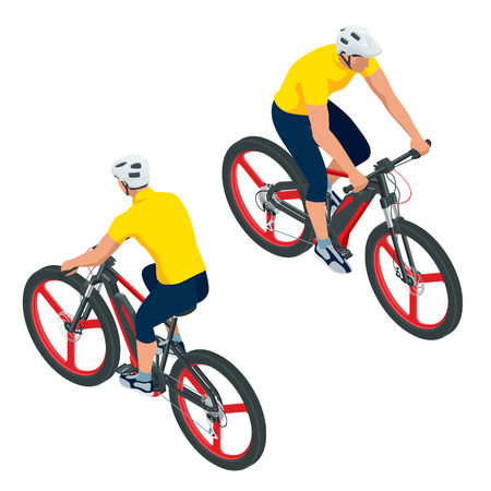 Isometric Modern Electric Bicycle icons. A man riding an electric bicycle. E-bike, Urban eco transport design concept