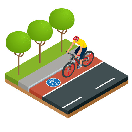Isometric Modern Electric Bicycle icons. A man riding an electric bicycle in a city. E-bike, Urban eco transport design concept. Illustration