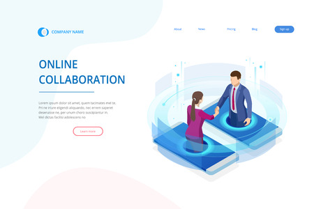 Isometric business handshake, global online collaboration, team collaboration, social network, and headhunting concept. Çizim
