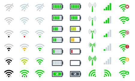 Flat Mobile phone system icons  signal strength, battery charge level and symbol sign remote access and communication radio