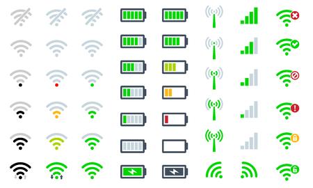 Icone piatte del sistema di telefonia mobile potenza del segnale, livello di carica della batteria e simbolo del segno accesso remoto e radio di comunicazione