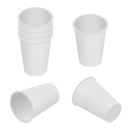 Isometric plastic cup. Empty white plastic disposable cups.
