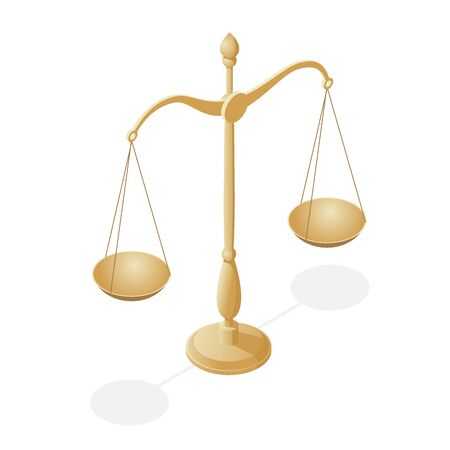 Isometric symbol of law and justice, law and justice, legal, jurisprudence. Illustration