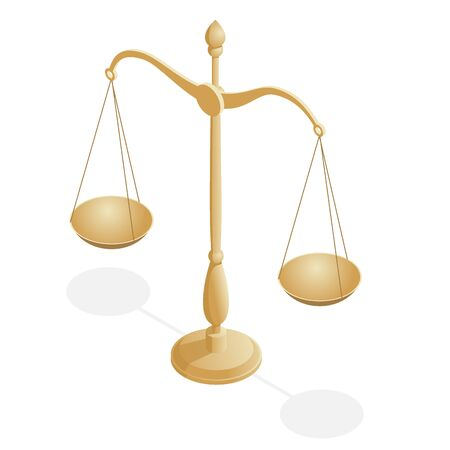 Isometric symbol of law and justice, law and justice, legal, jurisprudence.