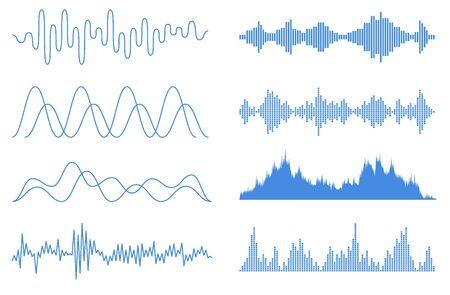Blaue Schallwellen eingestellt. Audio-Equalizer-Technologie, Pulsmusikalisch. Vektorgrafik