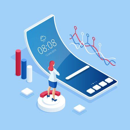 Análisis de negocio isométrico y tecnología financiera, concepto de visualización de datos.