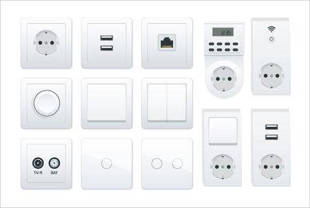 Ensemble d'interrupteurs et de prises. Tous les types. Prises de courant alternatif illustration réaliste