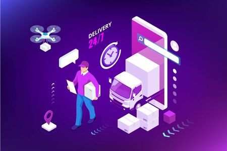 Isometric Logistics and Delivery concept. Delivery home and office. City logistics. Warehouse, truck, forklift, courier, drone and delivery man