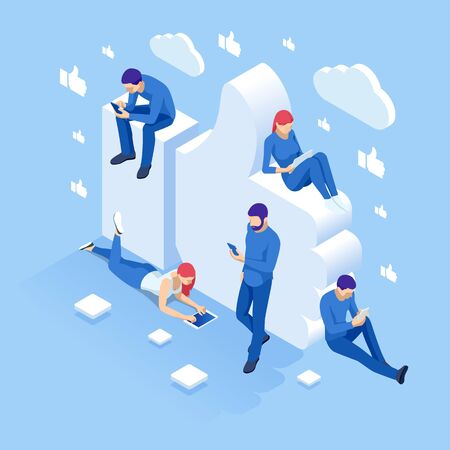 Isometric thumbs up like social network concept. 向量圖像