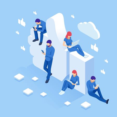 Isometric thumbs up like social network concept. Illustration