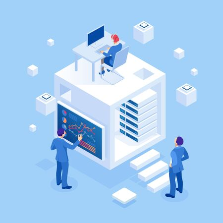 Isometric concept of business analysis, analytics, research, strategy statistic, planning, marketing, study of performance indicators. Investment in securities, smart investment, strategic management. Çizim