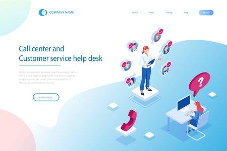 Operator telefoniczny obsługujący komunikację izometryczną, call center i help desk obsługi klienta. Ilustracje wektorowe