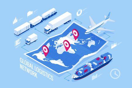 Ilustración isométrica de la red logística global Conjunto de iconos de carga aérea, transporte ferroviario, transporte marítimo, envío marítimo, entrega a tiempo, vehículos diseñados para transportar grandes cantidades de carga Ilustración de vector