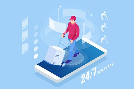 Isometric online Express, Free, Fast Delivery, Shipping concept.