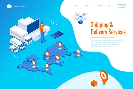Isometric Logistics and Delivery Infographics. Delivery home and office. City logistics. Warehouse, truck, forklift, courier, drone and delivery man. Ilustração