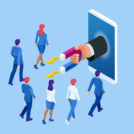 Izometryczny biznesmen trzyma magnes lub marketing magnes angażujący koncepcja zwolenników. Ilustracje wektorowe