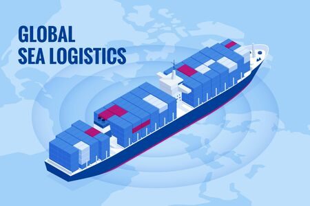 Isometric Maritime transport logistics concept. Ship cargo delivery or boat shipping containers and parcel boxes Stock Vector - 129248209