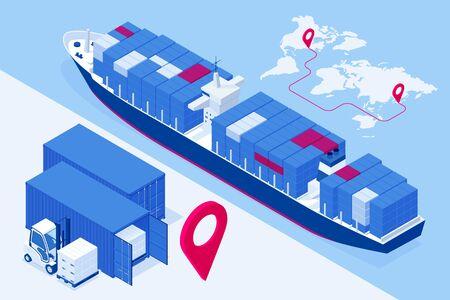 Concepto de logística de transporte marítimo isométrico. Envíe la entrega de carga o contenedores de envío en barco y cajas de paquetería. Ilustración de vector