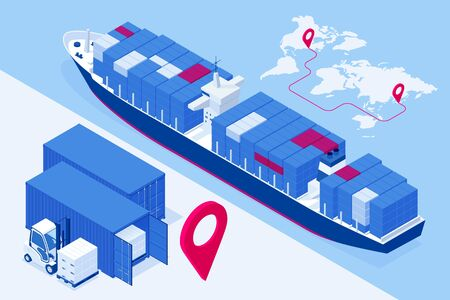 Isometric Maritime transport logistics concept. Ship cargo delivery or boat shipping containers and parcel boxes.