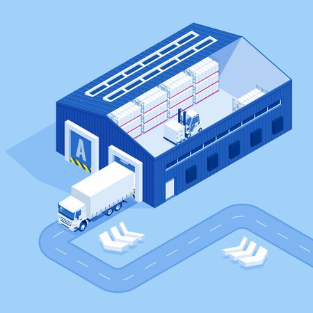 Isometric Industrial Warehouse Loading Dock. Truck with Semi Trailers Load Merchandise