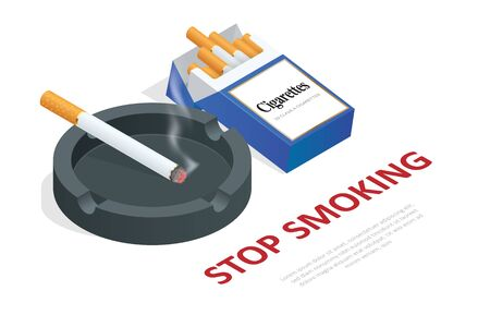 Stop smoking cigarettes concept. No Smoking including electronic cigarettes isometric Foto de archivo - 129248223