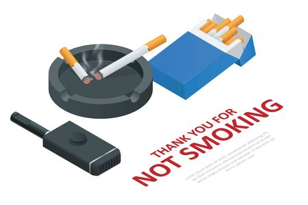 Stop smoking cigarettes concept. No Smoking including electronic cigarettes isometric Иллюстрация