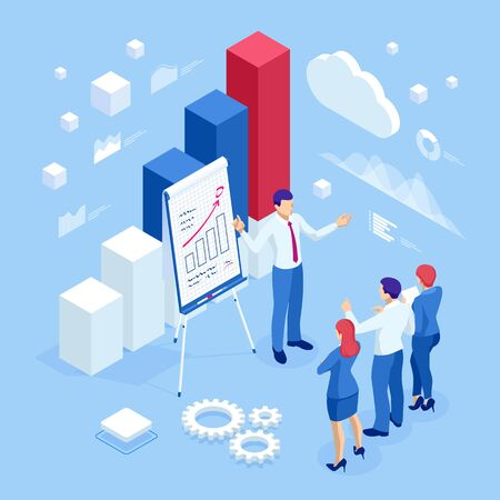 Isometric business people talking conference meeting room. Team work process. Business management teamwork meeting and brainstorming. Expert team for data analysis, business statistic. Иллюстрация
