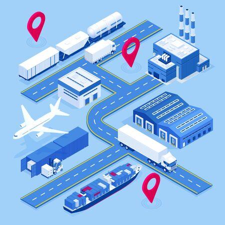 Isometric global logistics network.