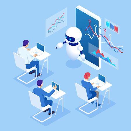 Isometric education or business training using artificial intelligence concept Ilustração
