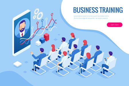 Isometric Business Training concept. Group of businessmen studies data. Office work crowd, team meeting, and discussion